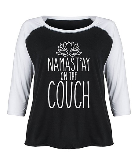 Superb Lc Trendz Plus Black White Namastay On The Couch Raglan Tee Plus Caraccident5 Cool Chair Designs And Ideas Caraccident5Info
