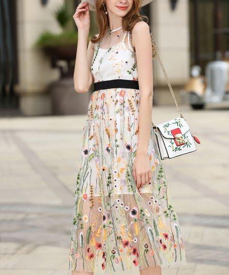 White Floral Sheer-Overlay Midi Dress