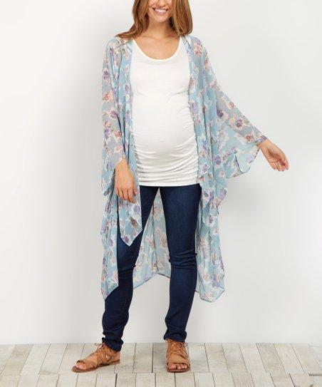 732446e8e458 PinkBlush Maternity Mint Floral Chiffon Maternity Kimono | Zulily
