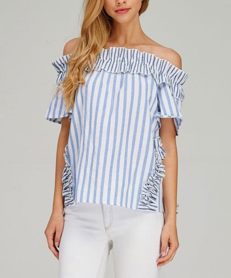 d32576a34e01e0 Listicle Blue   White Stripe Cold-Shoulder Top