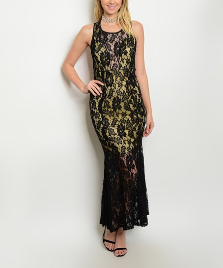 Forever Lily Black Taupe Lace Overlay Open Back Maxi Dress Women