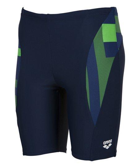 ad2477743d love this product Navy & Green Geometric Jammer Swim Shorts - Boys