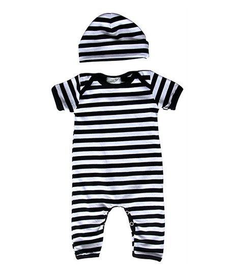 c2ee2847420 love this product Black   White Stripe Playsuit   Beanie - Newborn   Infant