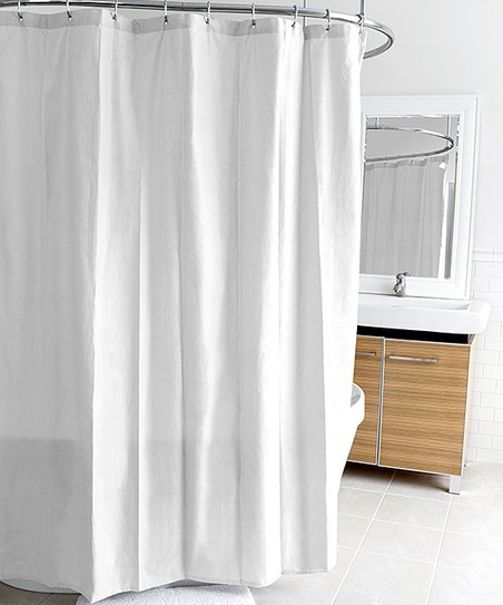 White Ella Microfiber Shower Curtain Liner