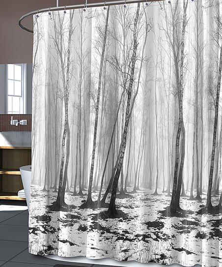 Black White Fog Forest Shower Curtain