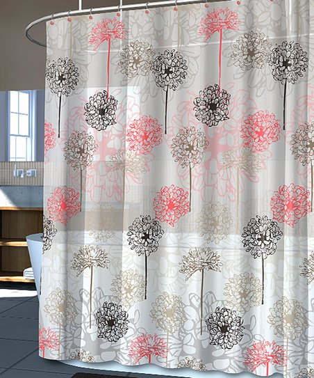 Coral Chrysanthemum Shower Curtain