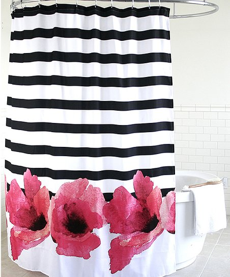 Pink Floral Stripe Shower Curtain