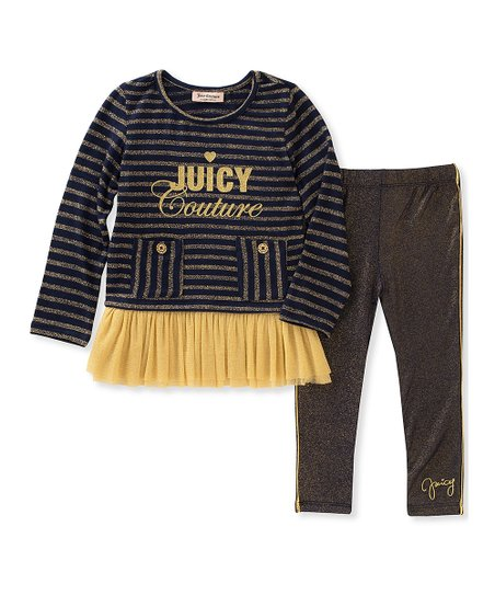 ffbbde79 Juicy Couture Black & Gold Ruffle Tunic & Leggings - Infant   Zulily