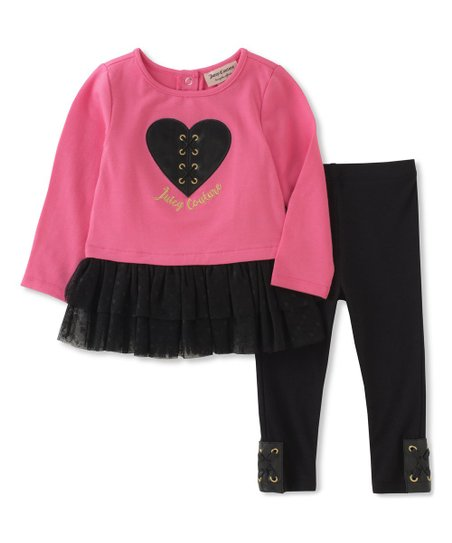 b0a8f1a50388c0 love this product Pink & Black Heart Ruffle-Hem Tunic & Leggings - Infant