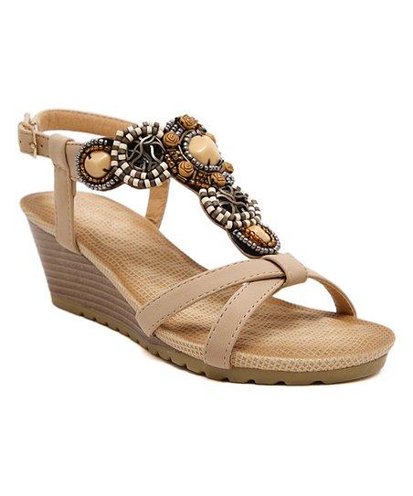 0d3ff0ec7975ed Siketu Beige Rhinestone-Embellished Wedge Sandal - Women