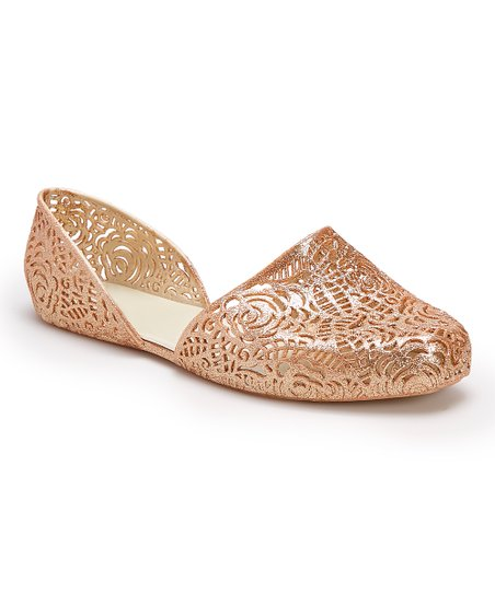 439294526092 Chemistry Champagne Floral-Cutout DOrsay Flat | Zulily