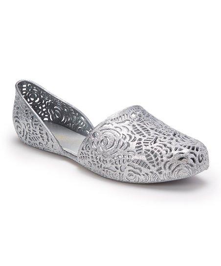 da920f5eae6f love this product Silver Floral-Cutout D'Orsay Flat