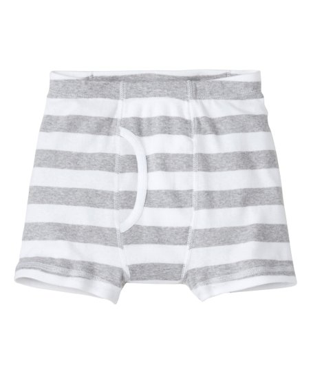 be8f03d7a571 Hanna Andersson Heather Gray & White Stripe Organic Cotton Boxer ...