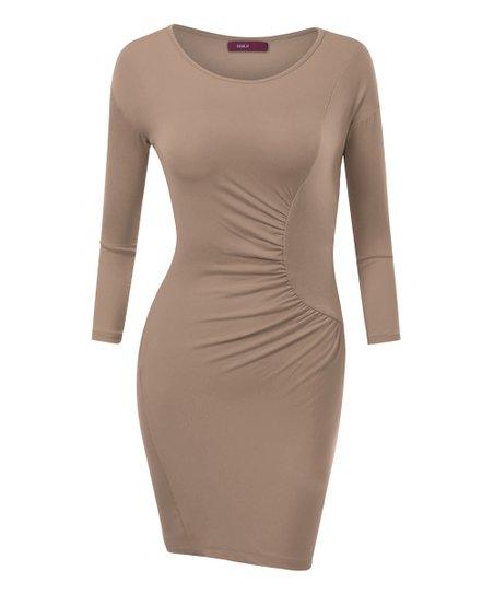 db39575031 Doublju Beige Three-Quarter Sleeve Side-Ruched Bodycon Dress - Plus ...