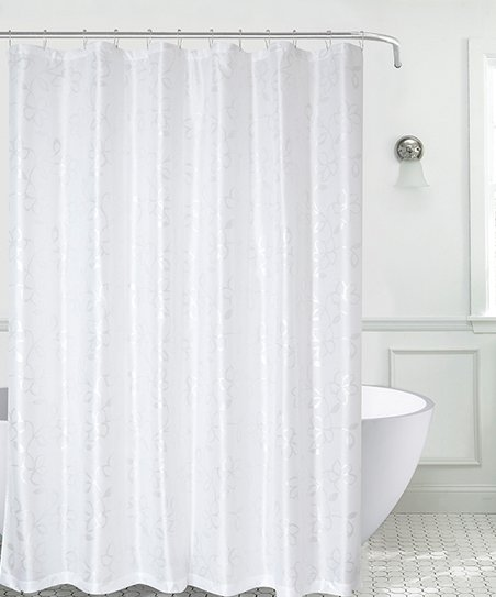 Love This Product White Silver Ariana Faux Silk Shower Curtain