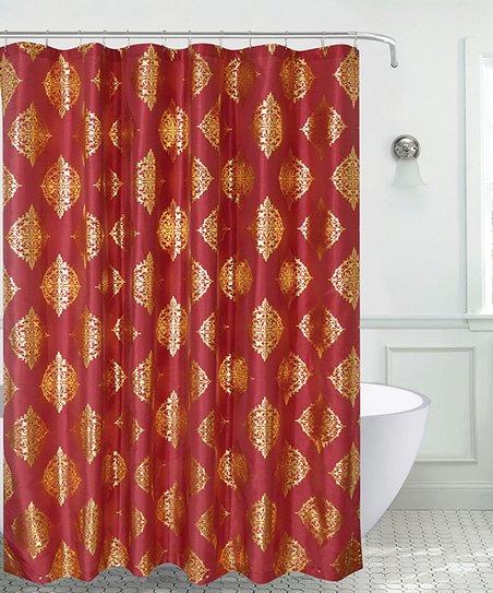 Burgundy Gold Marla Faux Silk Shower Curtain Set