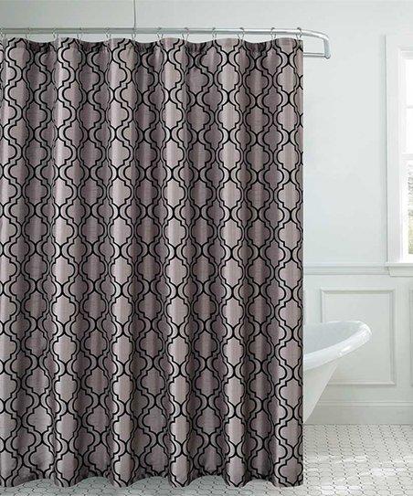 Black Silver Faux Silk Shower Curtain