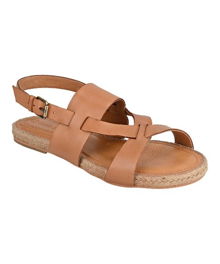 a866d8a4e1 CC Corso Como Camel Brushed Leather Pine Key Sandals   Zulily