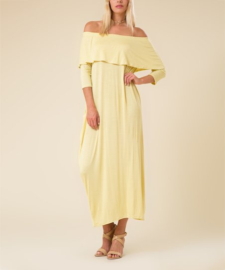 f934d07b6080 love this product Yellow Flounce Off-Shoulder Maxi Dress