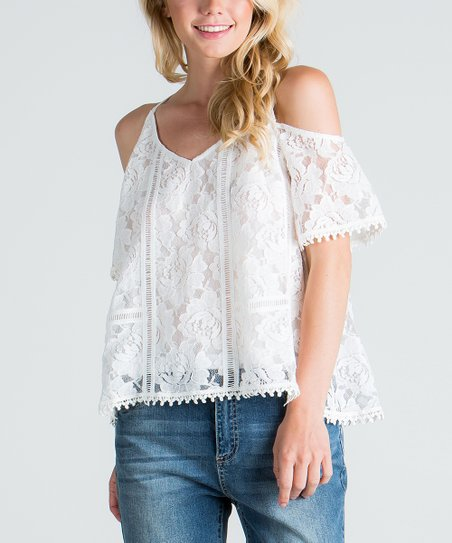 ee50b8c3cd2e4 love this product Off White Lace Cutout Top