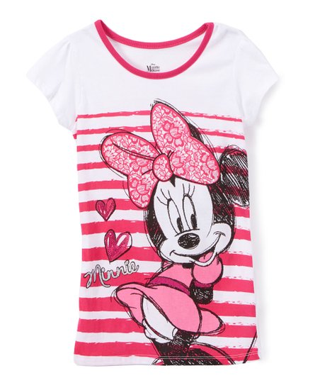 f99016e11d50 Childrens Apparel Network Disney Minnie Mouse Pink Stripe Ringer Tee ...