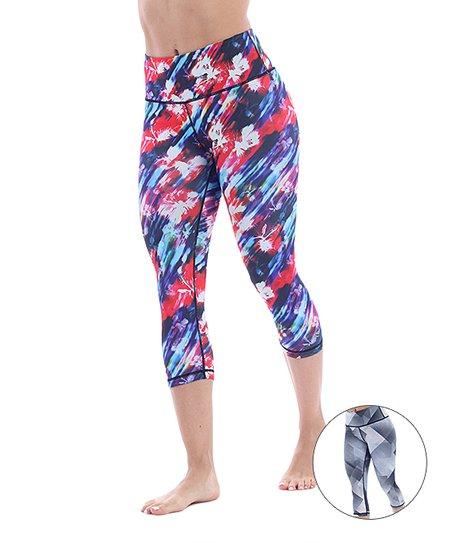 a73ae237cb Marika Hibiscus Blue Ava Reversible Capri Leggings
