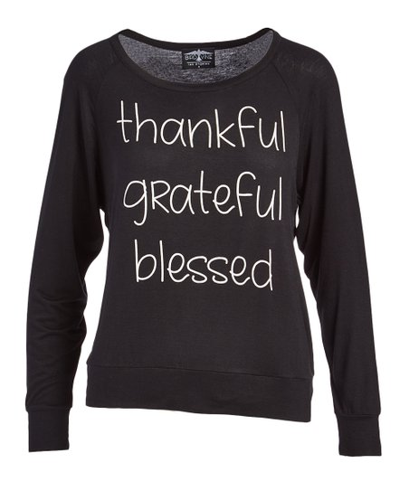 a6092b95 Bird & Vine Black Thankful Grateful Blessed Long-Sleeve Tee | Zulily