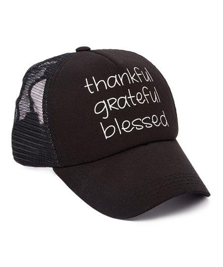 9c4820f7 Bird & Vine Black Thankful Grateful Blessed Trucker Hat   Zulily