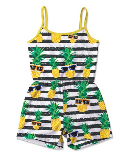 a79f602df love this product Black & White Stripe Pineapple Romper - Toddler & Girls