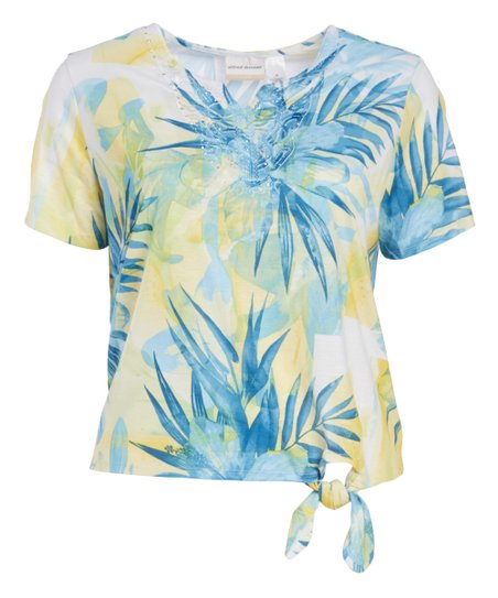 f141d142ee love this product Yellow   Blue Tropical Tie-Front Short-Sleeve Top - Plus