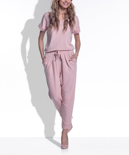 7e037eb3fe4b love this product Pink Powder Tie-Waist Jumpsuit - Women