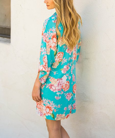 2f699e51dce2 Coveted Clothing Turquoise   Pink Floral Belted Robe - Women