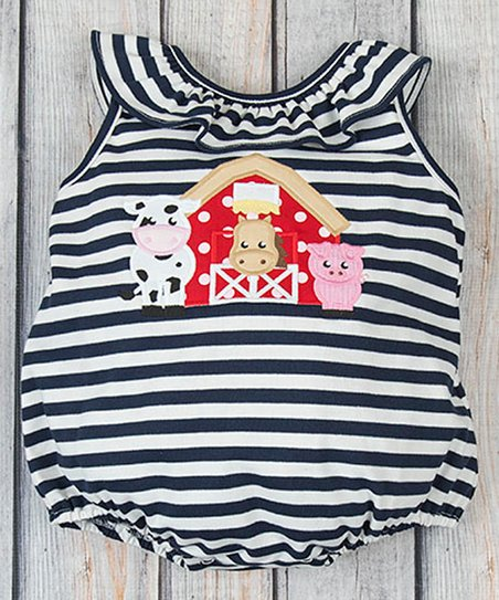 b05d6adcbc3 love this product Navy Stripe Barnyard Bubble Romper - Infant   Toddler