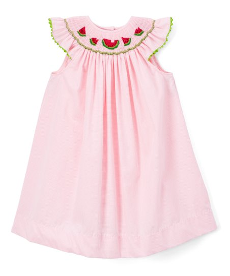 SALE Personalized Pink Gingham Angel Sleeve Dress with RicRac By Rosalina  Baby Clothes  Girl Dress  Pink  Angel Sleeve  RicRac