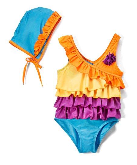78bcc45465 love this product Orange & Blue Ruffle One-Piece & Swim Cap - Toddler &  Girls