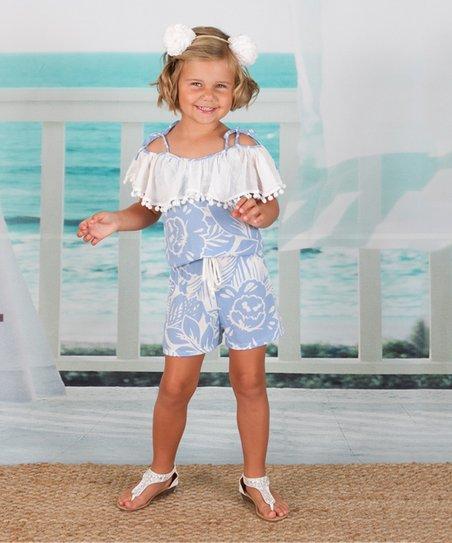 ac256108189 Mia Belle Girls Sky Blue   White Off-Shoulder Romper - Toddler ...