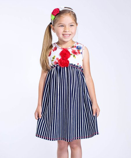 ca9311d428b3 love this product Navy Stripe   White Floral Sleeveless Dress - Toddler    Girls