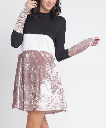 70abadbe7228 Black   Rose Gold Velvet Color Block Long-Sleeve Swing Dress - Women