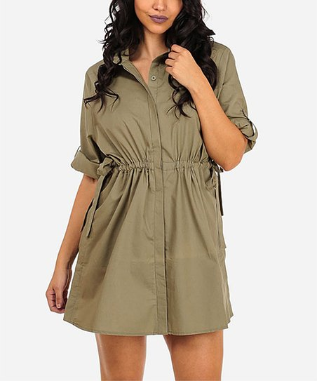 8a5cddfefe2 love this product Olive Tie-Waist Shirt Dress