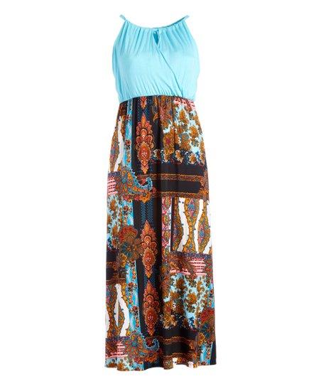 b659de212 love this product Aqua Paisley Medallion Cutout Maxi Dress - Women & Plus