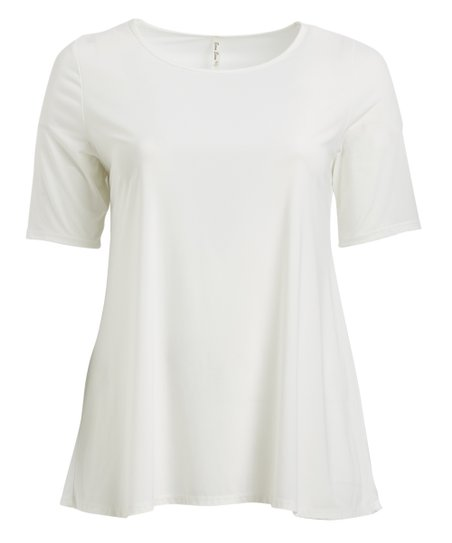 4f0a1524b94 Peek-a-BOOM White Short-Sleeve Tunic - Plus | Zulily