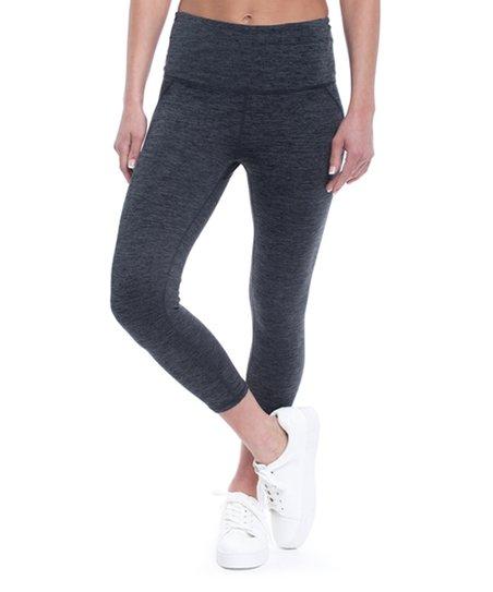 9c81b903a6afc Gaiam Heather Charcoal Om High-Rise Yoga Capri Leggings - Plus | Zulily