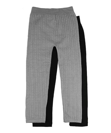 083bf1fb3dc17 love this product Gray Hearts & Black Fleece-Lined Seamless Leggings Set -  Toddler