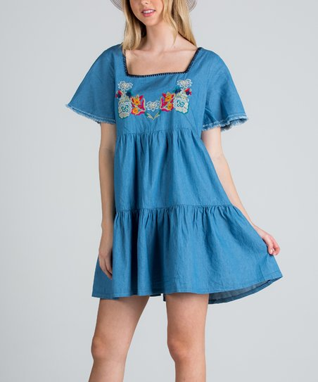 a1e7fd40a9a11 Light Denim Embroidered Shift Dress