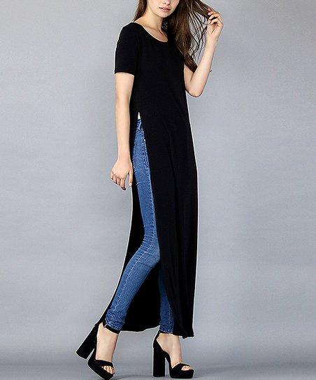 cd31fac4b35 FORE Black High Side-Slit T-Shirt Maxi Dress