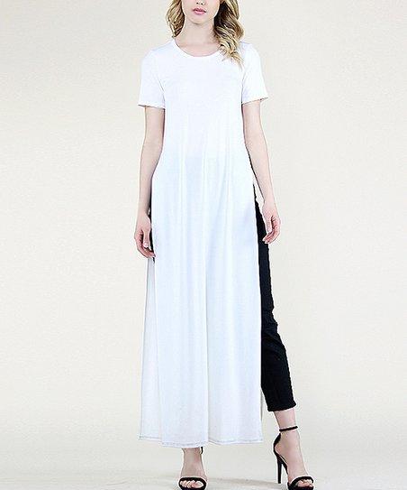 FORE White High Side-Slit T-Shirt Maxi Dress