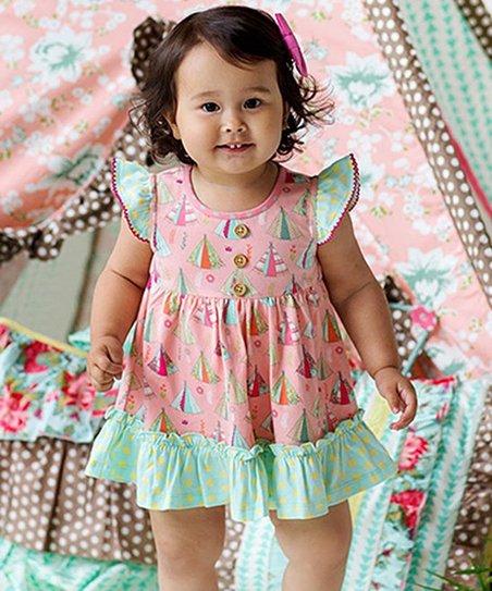 38315fa8dd34 Matilda Jane Clothing Pink Tipi Happy Camper Bubble Romper - Infant ...