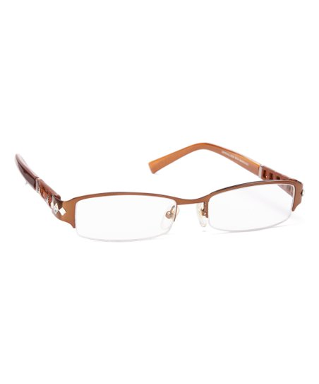 c25a7cd1c51c JIMMY CRYSTAL NEW YORK Brown Rectangle Readers With Swarovski ...