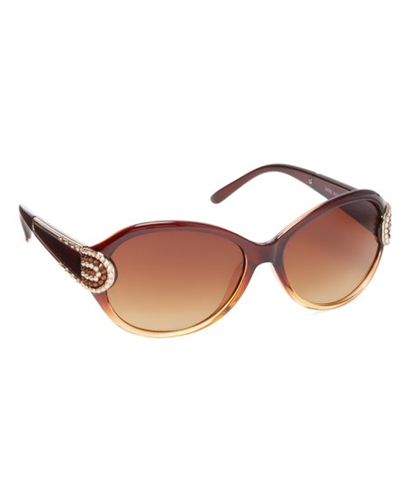 46b73a1be99 JIMMY CRYSTAL NEW YORK Brown Studded Oversize Sunglasses With ...