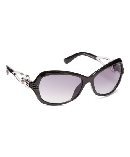 e02e318df64a JIMMY CRYSTAL NEW YORK Black Cutout Oversize Sunglasses With ...